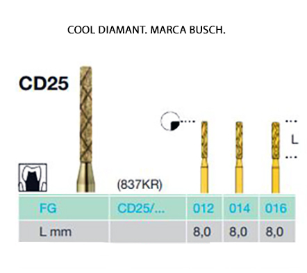 FRESAS TURBINA BUSCH FG CD25 COOL DIAMANT
