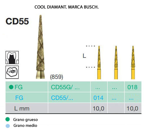 FRESAS TURBINA BUSCH FG CD55 COOL DIAMANT