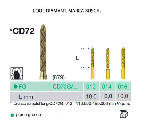 FRESAS TURBINA BUSCH FG CD72 COOL DIAMANT